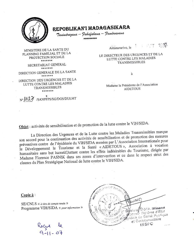 Notre action à Madagascar   AIDéTouS